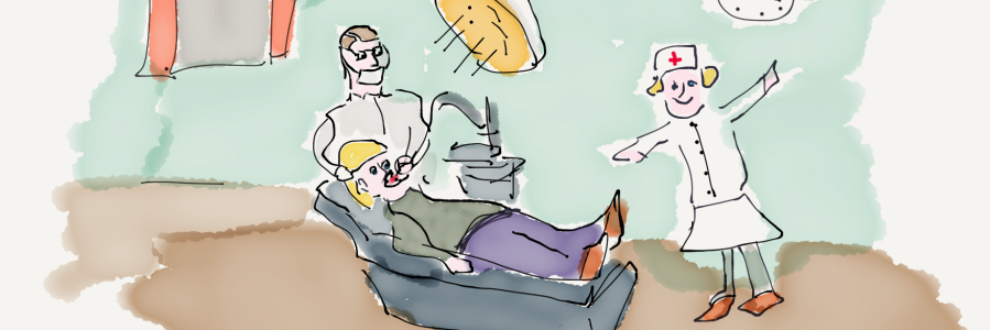 Image of nervous patient in dentist chair