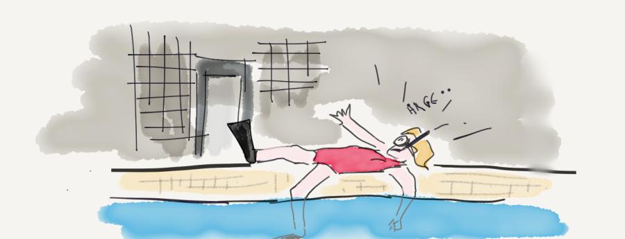scuba diver at poolside