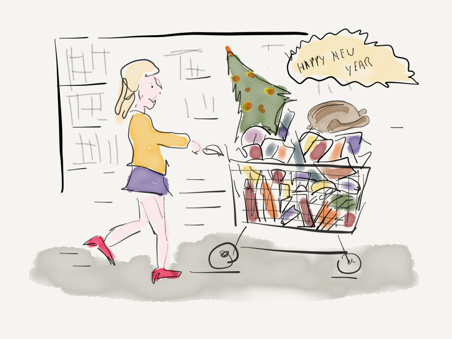 image of woman with filled shopping trolley